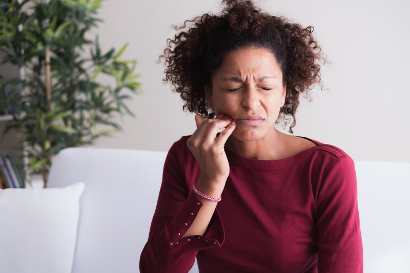 Woman with common oral health problem